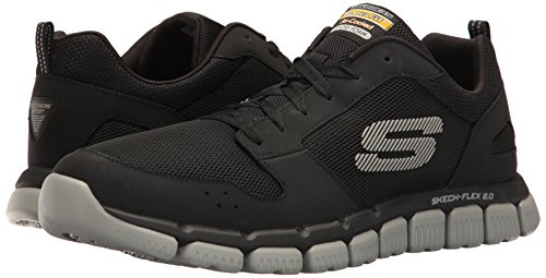 Skechers Mens Skech Flex Breathable Mesh Leather Multi Sport Trainers Black / Grey