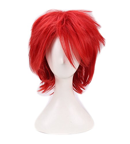 FWHWJ Short Layered Anime Fashionable Cosplay Costume Wig Red Hair -