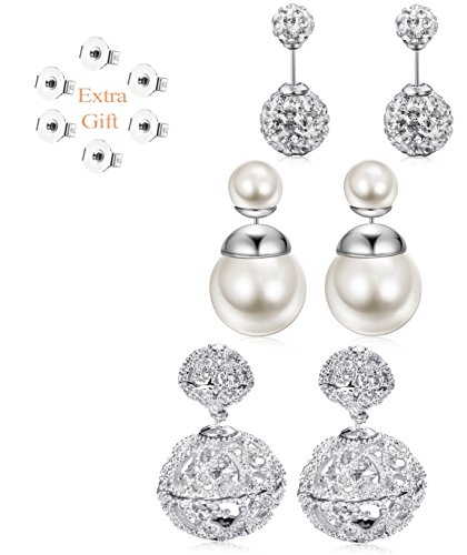 (JOERICA 3 Pairs Vintage Hollow Out Womens Double Side Round Ball Stud Earrings Silver-tone)