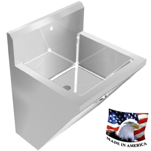 SURGEON'S CHASSIS HAND SINK 1 STATION SINK ONLY 24'' STAINLESS STEEL WELDED DRAIN by BSM