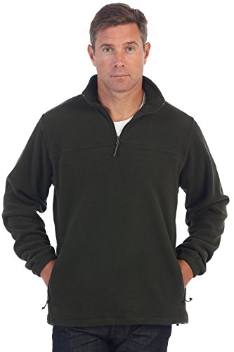 Gioberti Mens Half Zip Polar Fleece Jacket, Olive, Large