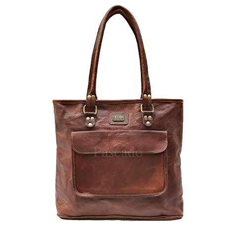 PASCADO Women top handle leather work tote purse shoulder Vintage dark brown soft bag 15 inch with zipper (Bag Small Tote Flap)