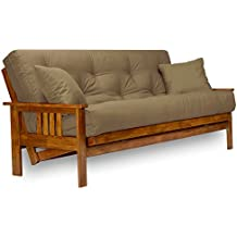 Stanford Futon Set - Full Size Futon Frame with Mattress Included (8 Inch Thick Mattress, Twill Khaki Color), More Colors & Larger Queen Size Available, Heavy Duty Wood, Popular Sofa Bed Choice