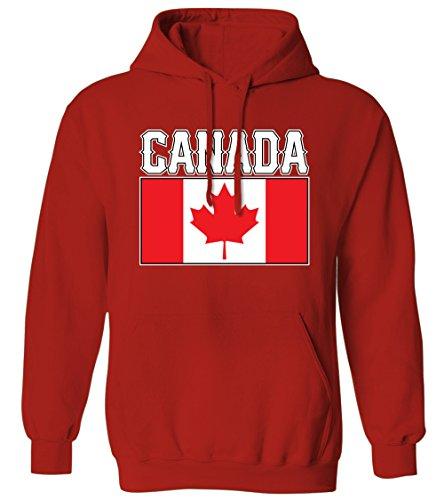 - Bold Canada Flag Lettering -Canadian National Pride Mens Hoodie Sweatshirt (Red, Medium)