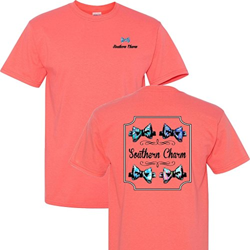 (Southern Charm Preppy Bowtie on a Coral Short Sleeve T)