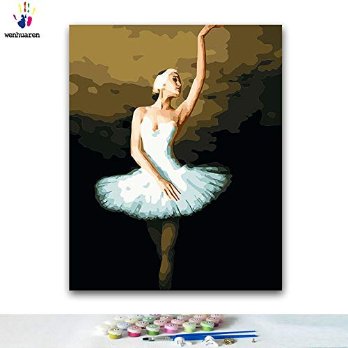 Paint by Number Kits Canvas DIY Oil Painting for Kids, Students, Adults Beginner with Brushes and Acrylic Pigment -Ballet Dancer White swan Dance swan Lake Ballet (11530, 16x20 with ()
