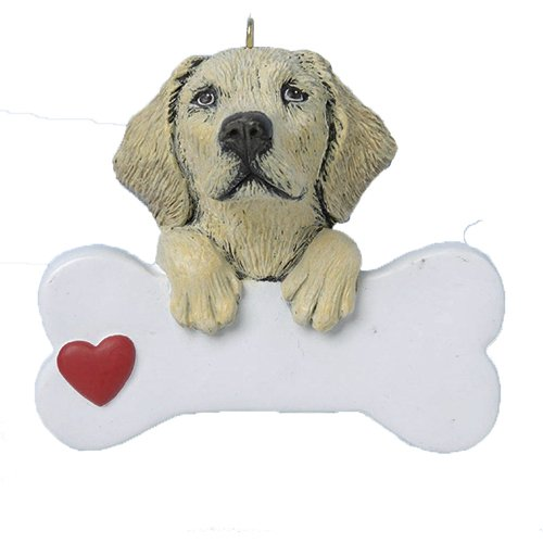(Personalized Yellow Labrador Retriever Christmas Ornament for Tree 2018 - Cute Lab Paws on Big Bone with Heart - Friendly Dog Family Smart Play Faithful Furever Fluffy - Free Customization)
