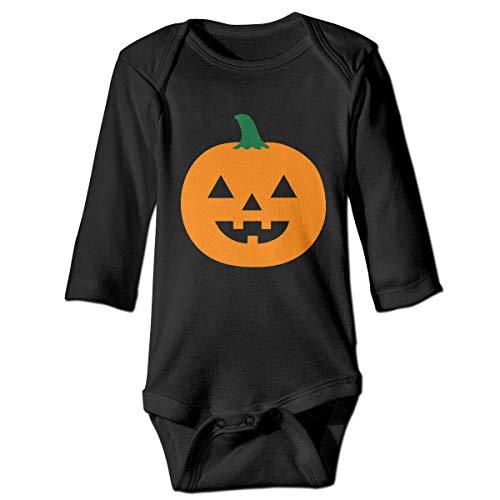 Marsherun Baby Boy's Girl's Halloween Jack Lantern Clip Art Pumpkin Carving Long-Sleeve Climbing Bodysuits Playsuit 2T Black -