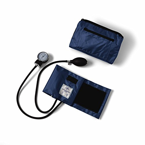 Medline Compli-Mates Aneroid Sphygmomanometer Kit with Carrying Case, Adult Blood Pressure Cuff, Manual, Professional, Navy