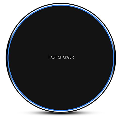 Wireless Charger,iPhone X Wireless Charger,7.5W Wireless Charging Compatible iPhone X 8/8 Plus,10W Fast Wireless Charger Charging Pad Stand for Samsung S6/S7/S8/S9 Mount with Wireless Charger