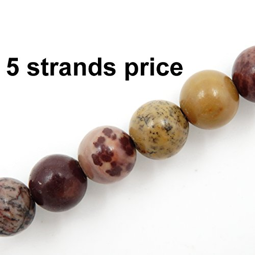 Malahill semiprecious Stone Beads for Jewelry Making, Sold per Bag 5 Strands Inside, Flower Jasper 8mm
