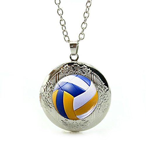 Women's Custom Locket Closure Pendant Necklace Vintage Volleyball Included Free Silver Chain, Best Gift Set (Locket Volleyball)
