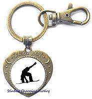 Handmade Snowboarding Keychain, Wnter Sport, Snowboard Key Ring,Snowboarder Jewelry, Snowboarding Gift -JV150