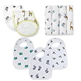 aden + anais Classic Swaddle Jungle Jam Collection, 100% Cotton Muslin, 4 Pack Swaddle, 3 Pack Snap Bib, 2 Pack Burpy Bib