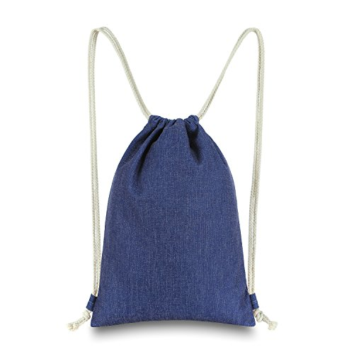 Miomao Drawstring Backpack Gym Sack Pack Solid Cinch Pack Canvas Sinch Sack Sport String Bag with Pocket Gift Beach Bag For Men & Women 13 X 18 Inches Navy Blue ()