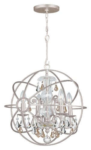 Crystorama 9025-OS-GS-MWP Solaris - Four Light Mini Chandelier, Choose Finish: Olde Silver