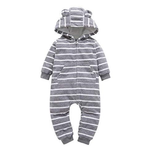 Vanbuy Fleece Baby Boy Girl Outfits Newborn Infant Toddler Zip UP Hooded Stripe Jumpsuit Romper Bodysuit Sleeper Z237-07208-Black White Stripe-66cm/6M