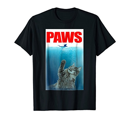 Paws Cat and Mouse T-Shirt Cute Funny Cat Lover (Kitty Jaws Shirt)