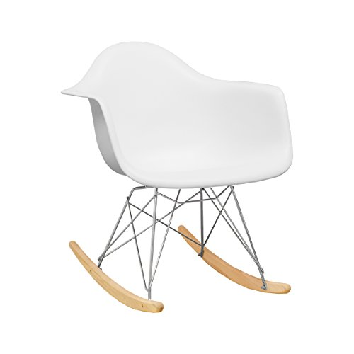 Ergo Furnishings Mid-Century Eiffel Tower Molded Plastic Rocker Rocking Chair, White by Ergo Furnishings