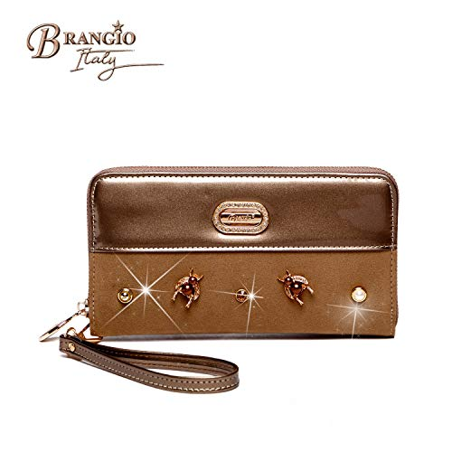 Brangio Dragonfly Twinkle Elegant Large Capacity Women's Clutch Wallet Organizer Pewter