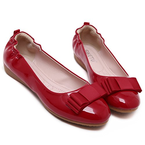 Classic Beauty Round PU On Leather Slip Patent Womens Flats D2C Red Toe Bowknot xAaYXXn
