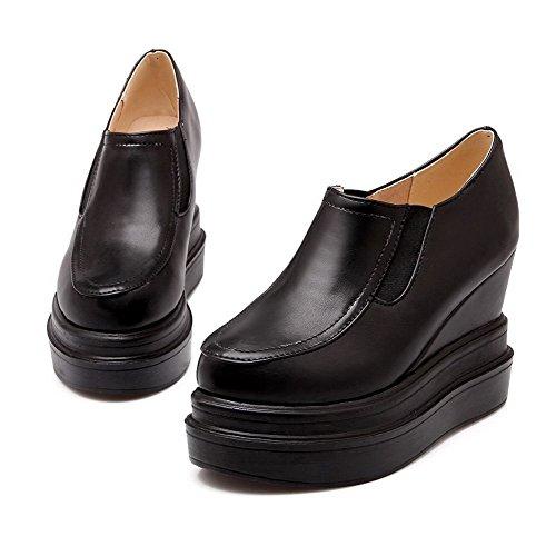 AllhqFashion Mujeres Material Suave PU Puntera Redonda Tacón Alto Zapatos de Tacón Negro