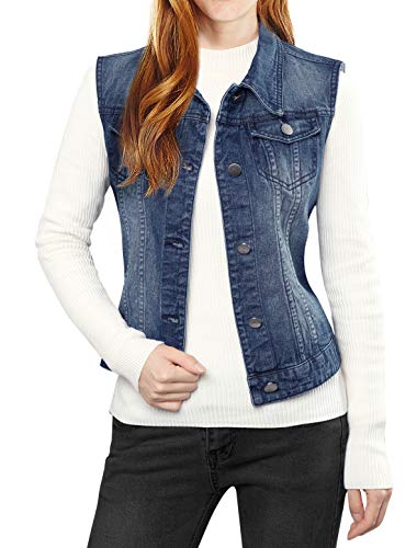 Denim Vest Jacket - Allegra K Women's Washed Denim Vest Dark Blue M