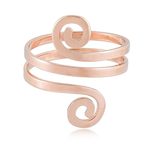 MANZHEN Fashion Double Swirl Wire Wrap Faceted Adjustable Thumb Open Ring (rose gold)