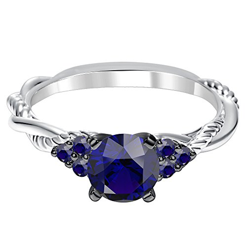 - luxrygold 14K White Gold Plated Twist Shank Engagement Ring 1.52 Ct 7 Stones Blue Sapphire Diamonds