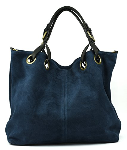 OH MY BAG Sac à Main cabas cuir nubuck femme - Modèle Opéra Bleu Fonce