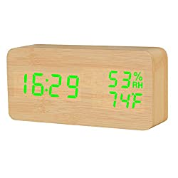 Raercodia Wooden Alarm Clock Modern Wood Digital Clock Electronic Desk Clock LED Display Time Date Temperature Humidity Voice Control 3 Alarms 3 Brightness for Home Office Kids (Wood,Green)