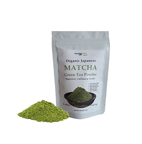 Organic Matcha Green Tea Powder – EGCG Antioxidants – Japanese Superior Culinary Grade – 60 Grams – Sustained Energy, Metabolism Boost, Calorie Burning – Great in Lattes, Smoothies, and Baking For Sale