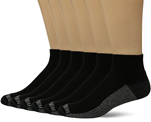 Fruit of the Loom Men's Ankle Quarter Socks (6 Pack) with Cushion and Arch Support, Black (Gray Sole), Shoe Size: 6-12