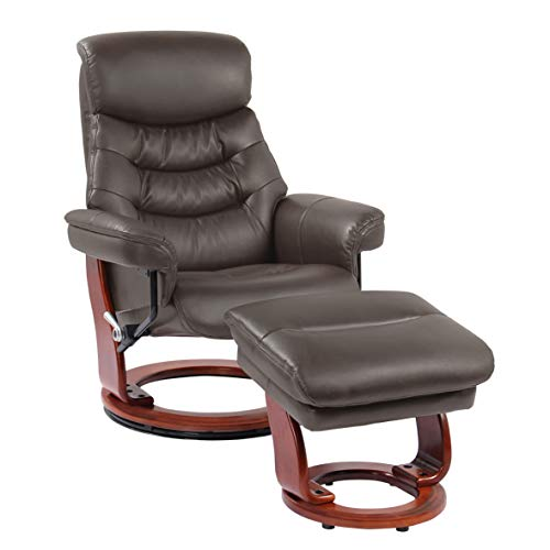Coja by Sofa4life C-Bro Charles Leather Recliner and Ottoman ()