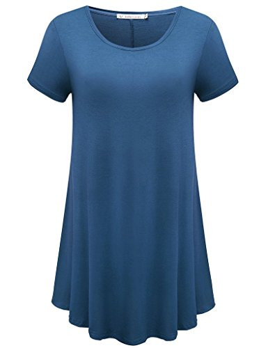 JollieLovin Women's Short Sleeve Loose Fit Flare Hem T Shirt Tunic Top (Steel Blue, 3X)