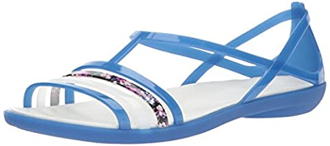 Crocs Women's Isabella W Flat Sandal, Blue Jean/Oyster, 7 M US - Blue Croc