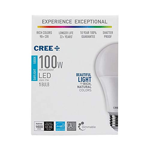 Cree LED 100W Equivalent Light Bulb, A21, Dimmable, CRI 90 (Daylight, 3-Pack)