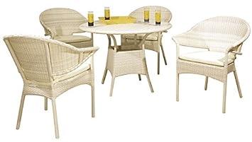 Salon de jardin en résine blanc 4 chaises avec cousin+1 ...