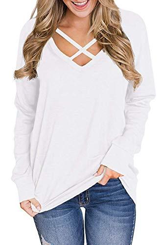 Genhoo Women's V Neck Criss Cross Long Sleeve T Shirt Tunics Tops Blouses Pullover Sweatshirt (White,M)
