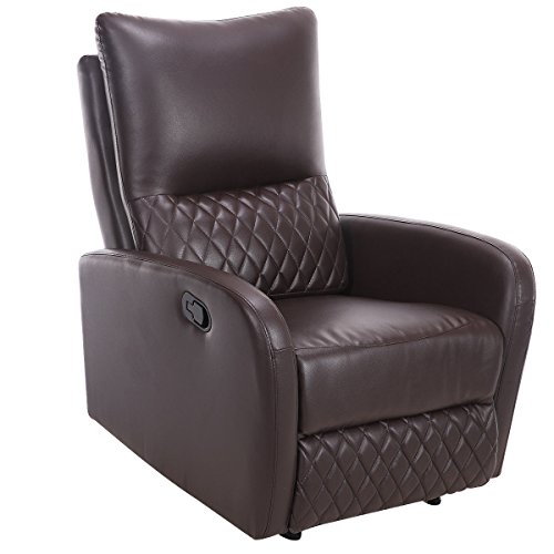 Brown Leather Home Theater Extension - Giantex Recliner Chair Manual PU Leather Ergonomic Theater Reclining (Brown)