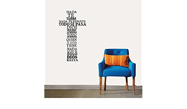 Amazon.com: opure Wall stickers vinyl Words Sayings Removable Lettering Spanish nada te turbe nada te espante for living room: Home & Kitchen
