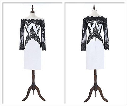 Alluring White and Black Lace Sheath Mother of the Bride Dress with Long Sleeves (Alluring Short)