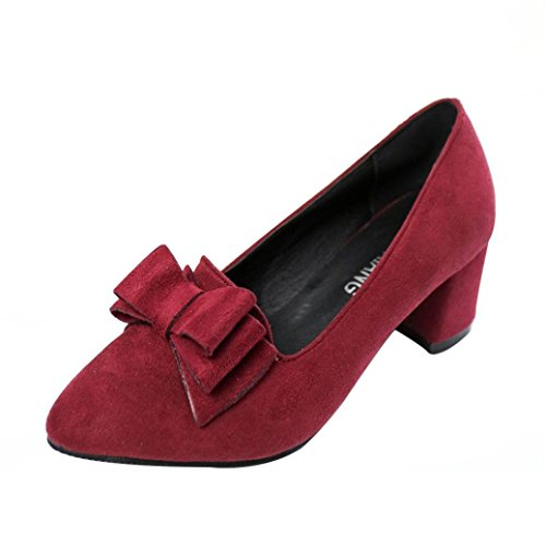 - Clearance Women Shoes COPPEN Women's Bowknot Thick High Heels Casual Pointed Toe Shoes