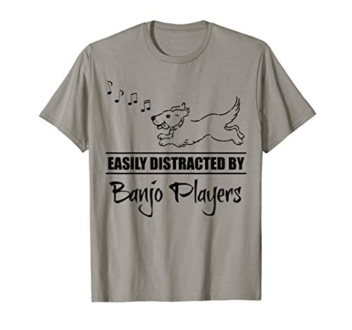 Running Dog Easily Distracted by Banjo Players Fun Whimsical T-Shirt