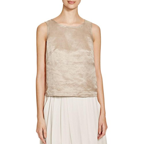 Eileen Fisher Organic Linen Silk Satin Shell S L MSRP $178.00 (L)