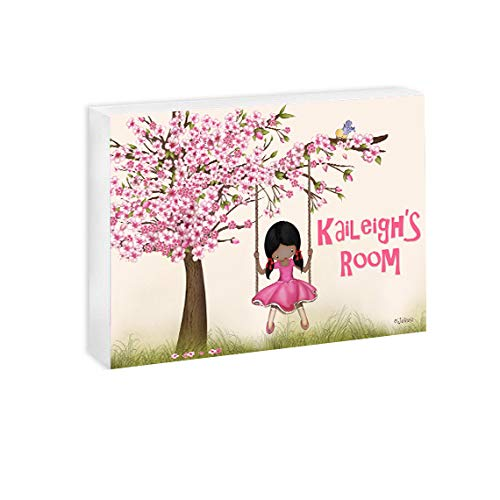 African American Girls Gift Personalized Name Door Sign Cherry Blossom Tree Wall Art Nursery Plaque Custom Name Hair and Skin Color