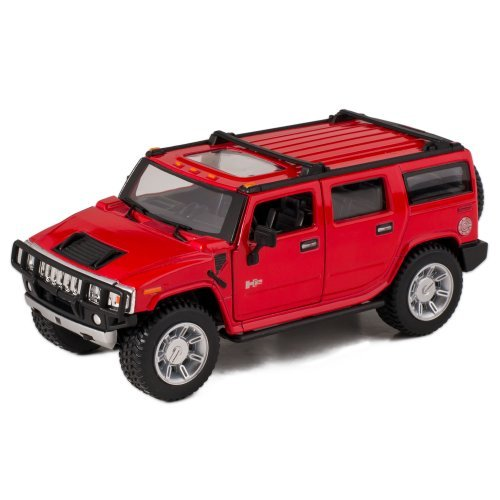 Red 2008 Hummer H2 SUV Die Cast Toy with Pull Back Action (Car Hummer Model)