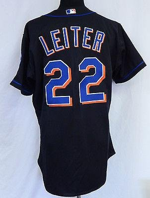2001 New York Mets Al Leiter #22 Game Issued Poss. Game Used Black Jersey 5471 – Game Used MLB Jerseys