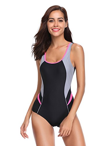 LALAVAVA Women's One Piece Swimsuit Race Training Athletic Sports Bathing Suits Swimwear (Grey/Black, XL) (Light Coors Case)