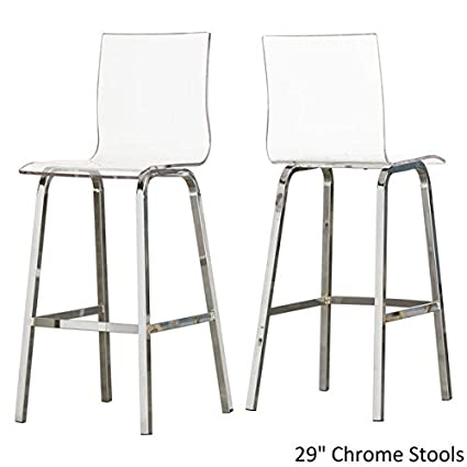 INSPIRE Q Bold Chrome 29u0026quot; Miles Clear Acrylic Swivel High Back Bar  Stools With Back